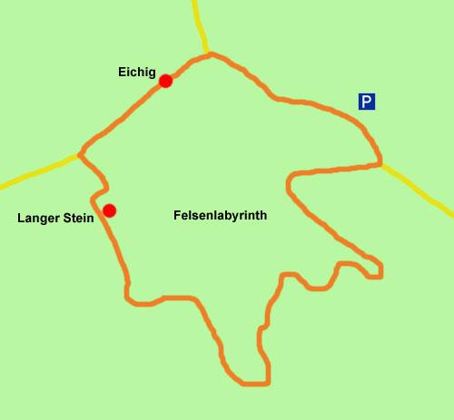 Wanderkarte Felsenlabyrinth Eichig